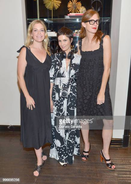 Cole Wilson Founder of VIOLET GREY Cassandra Grey and CEO of VIOLET GREY April Uchitel attend Beats by Dre for VIOLET GREY Party on July 11 2018 in...