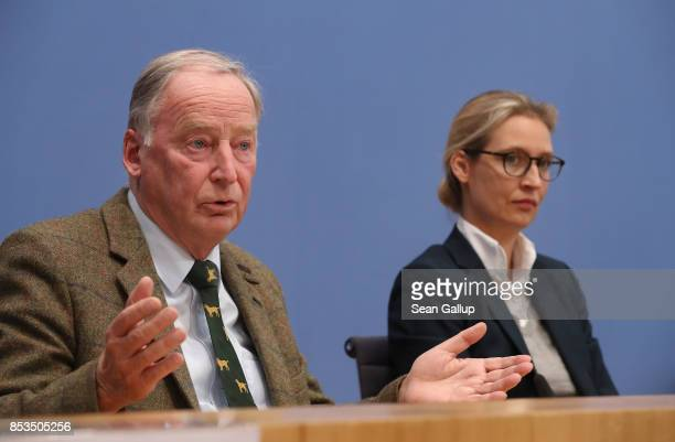 Colead federal elections candidates of the rightwing Alternative for Germany Alexander Gauland and Alice Weidel speak to the media at a press...