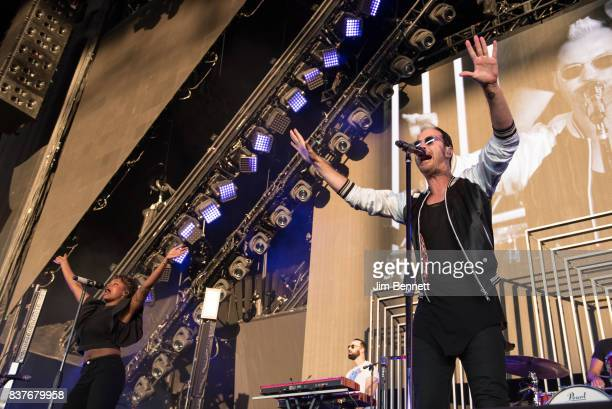 Colead vocalist Noelle Scaggs keyboard player Jeremy Ruzumna and lead vocalist Michael Fitzpatrick of Fitz and The Tantrums perform live on stage at...