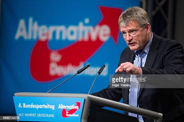 Coleader Joerg Meuthen delivers a speech during AfD federal party congress on November 28 2015 in Hanover Germany The AFD aims to enter three new...