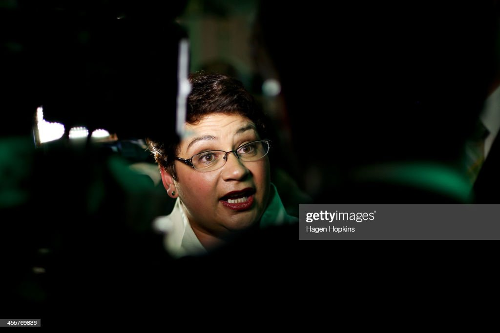 Co-leader Metiria Turei speaks to media during the Green's 2014 General Election party at Hopetoun Alpha on September 20, 2014 in Auckland, New Zealand. Voters headed to the polls today to elect the 51st Parliament of New Zealand.