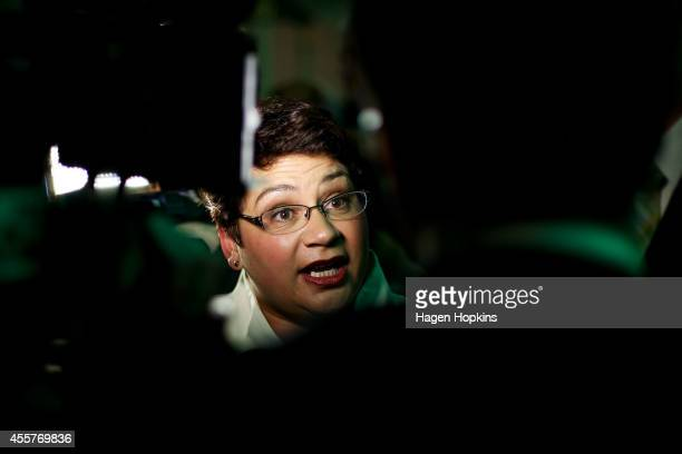 Coleader Metiria Turei speaks to media during the Green's 2014 General Election party at Hopetoun Alpha on September 20 2014 in Auckland New Zealand...