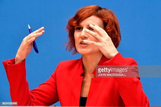 Coleader of Die Linke party Katja Kipping attends a press conference in Berlin on September 25 one day after general elections Germany voted in a...