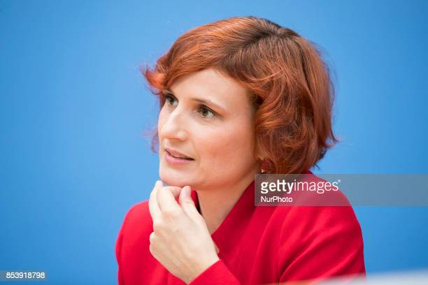 CoLeader of Die Linke party Katja Kipping is pictured during a press conference in Berlin Germany on September 25 2017