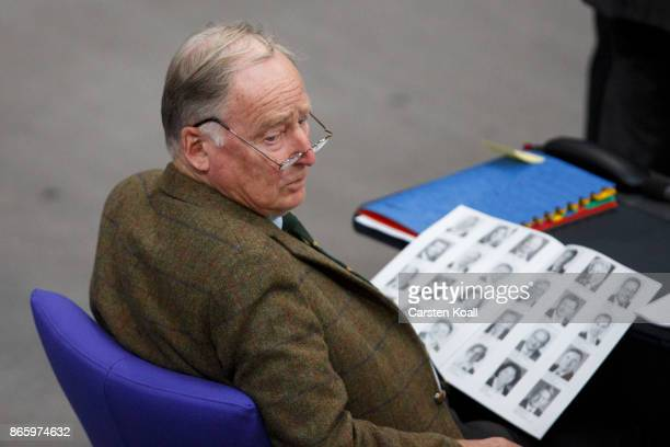 Coleader of the AfD Bundestag faction Alexander Gauland attends the opening session of the new Bundestag on October 24 2017 in Berlin Germany Today's...