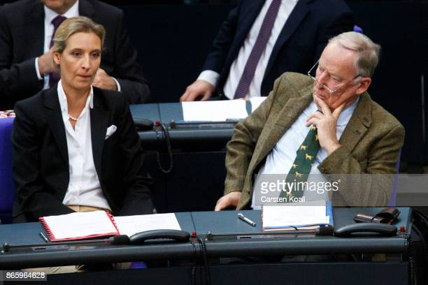 Coleader of the AfD Bundestag faction Alice Weidel and Coleader of the AfD Bundestag faction Alexander Gauland attend the opening session of the new...