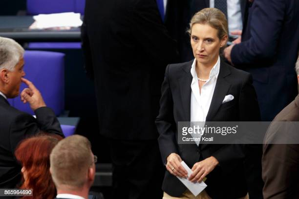 Coleader of the AfD Bundestag faction Alice Weidel waits for polling during the opening session of the new Bundestag on October 24 2017 in Berlin...