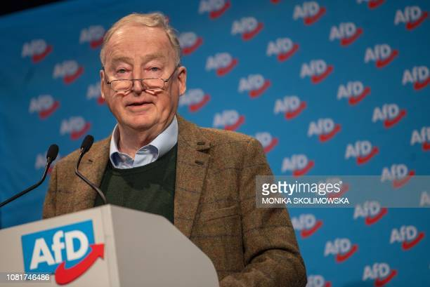 Coleader of the Alternative for Germany farright party Alexander Gauland gives a speech during his party's meeting on January 13 2019 in Riesa near...