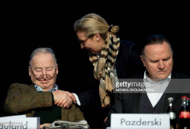 Coleader of the Alternative for Germany farright party Alexander Gauland shakes hands with AfD parliamentary group coleader Alice Weidel as AfD...