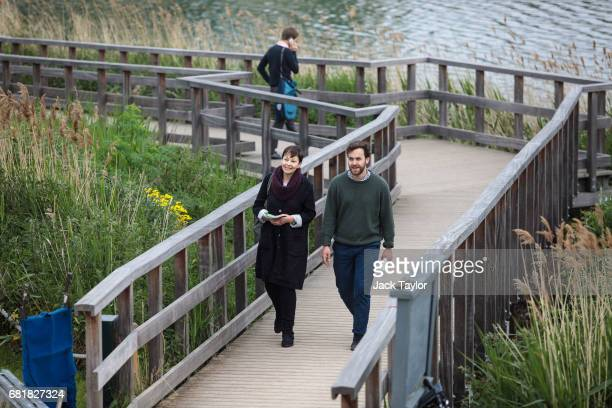 CoLeader of the Green Party Caroline Lucas arrives to launch the party's environmental manifesto at the Woodberry Wetlands nature reserve on May 11...