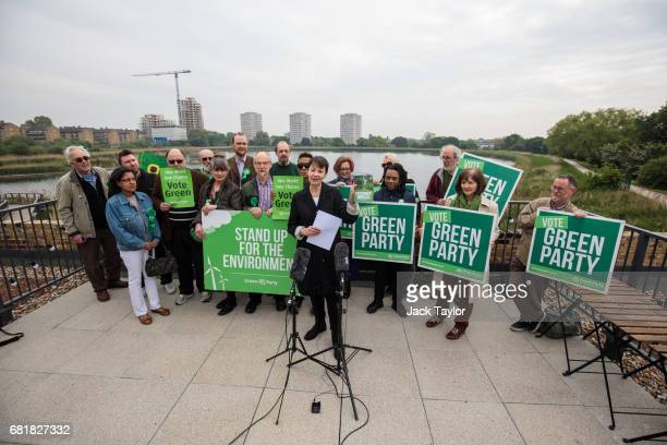 CoLeader of the Green Party Caroline Lucas delivers a speech in front of supporters as she launches the party's environmental manifesto at the...