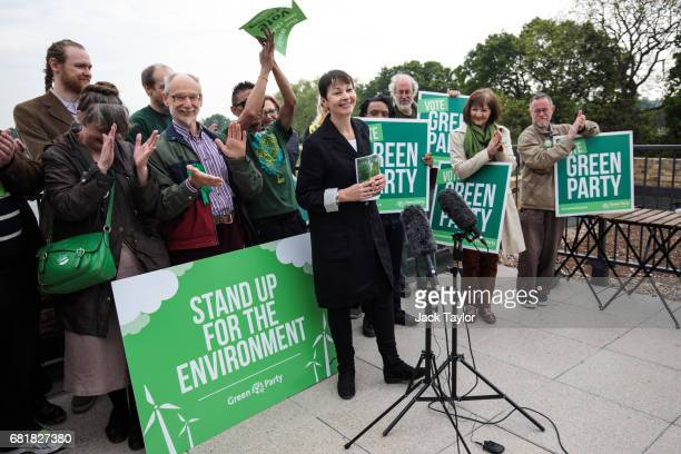 CoLeader of the Green Party Caroline Lucas is cheered by supporters as she launches the party's environmental manifesto at the Woodberry Wetlands...