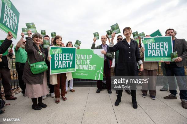 CoLeader of the Green Party Caroline Lucas poses with supporters as she launches the party's environmental manifesto at the Woodberry Wetlands nature...