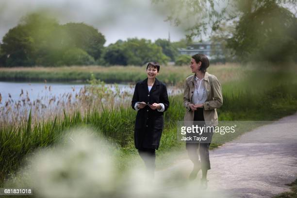 CoLeader of the Green Party Caroline Lucas walks with Public Affairs Officer at The Wildlife Trusts Haley Bowcock as she launches the party's...