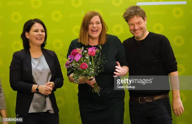 Coleaders of the German Greens party Annalena Baerbock and Robert Habeck congratulate Greens party Hamburg elections lead candidate Katharina...