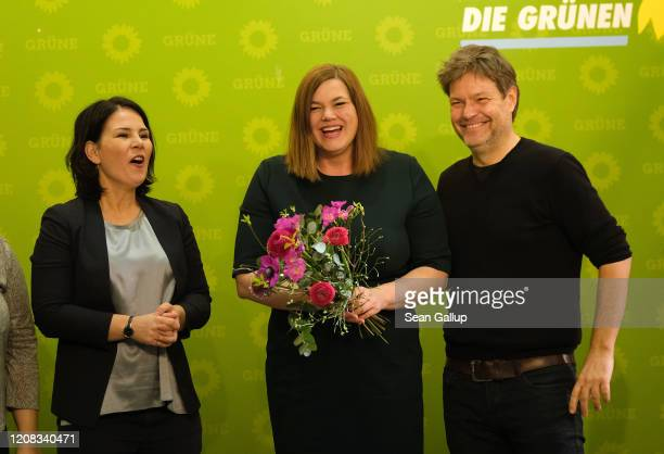 Co-leaders of the German Greens party Annalena Baerbock and Robert Habeck congratulate Greens party Hamburg elections lead candidate Katharina...