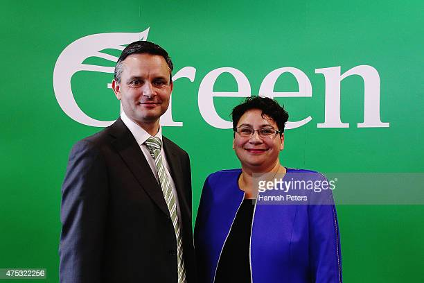 Coleaders of the Green Party James Shaw and Metiria Turei pose for a photo following the Green Party conference at Auckland University on May 31 2015...