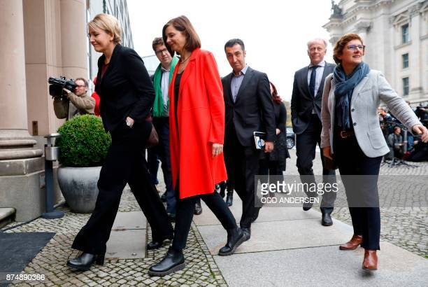 Coleaders of the Greens ecologist party Simone Peter Katrin GoeringEckardt Cem Ozdemir member of the Greens party Juergen Trittin and parliamentary...