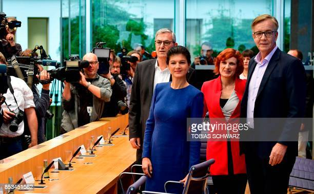 Coleaders of the leftwing Die Linke party Bernd Riexinger and Katja Kipping and top candidate of Die Linke Sahra Wagenknecht and Dietmar Bartsch pose...