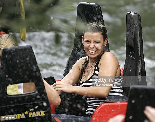 Coleen McLaughlin laughs after getting a soaking at the Europa theme park on June 29 2006 near Baden Baden Germany