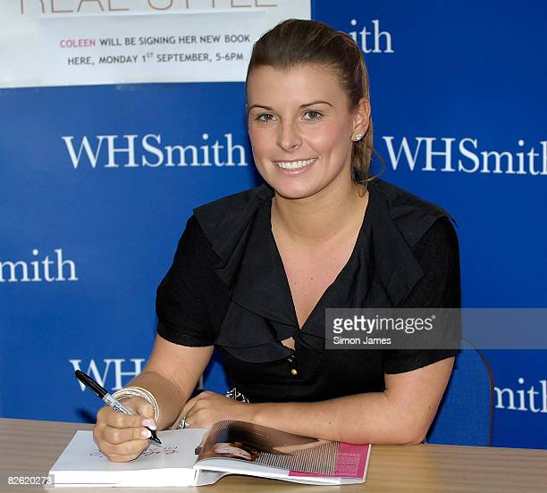Coleen McLoughlin signs copies of her new style guide 'Coleen's Real Style' during a book signing event at WH Smith on September 1 2008 in Grays...