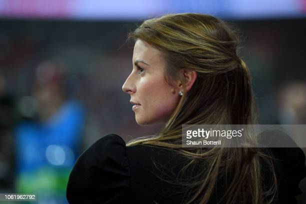 Coleen Rooney looks on prior to the International Friendly match between England and United States at Wembley Stadium on November 15 2018 in London...