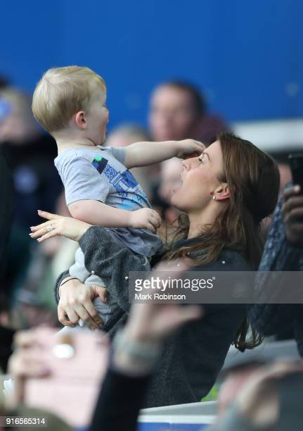 Coleen Rooney wife of Wayne Rooney is seen ahead of the Premier League match between Everton and Crystal Palace at Goodison Park on February 10 2018...