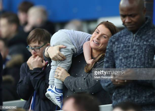 Coleen Rooney wife of Wayne Rooney looks on ahead of the Premier League match between Everton and Crystal Palace at Goodison Park on February 10 2018...
