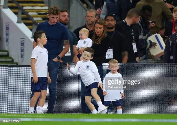 Coleen Rooney with her children Kai Klay Kit and Cass Mac prior to the International Friendly match between England and United States at Wembley...
