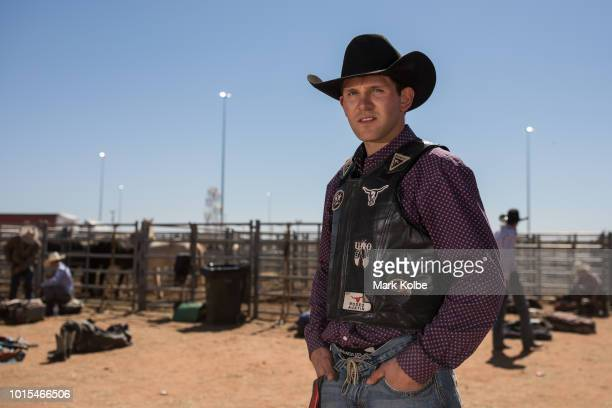 Coleman Entze of Golden Valley ND poses as he competes the 2018 Mount Isa Rotary Rodeo at the Buchanan Park Events Complex on August 12 2018 in Mount...