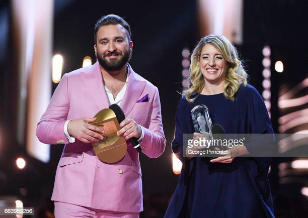 Coleman Hell and Minister Melanie Joly present award at the 2017 Juno Awards at The Canadian Tire Centre on April 2 2017 in Ottawa Canada