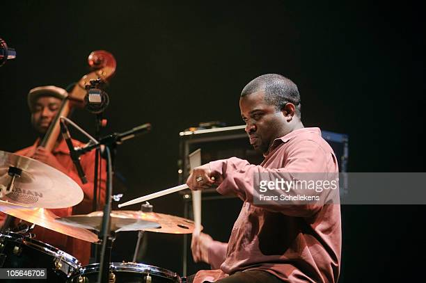 Coleman Montez playing drums with Roy Hargrove Quintet on stage at the Shanghai Centre Theatre on October 15th, 2010 in Shanghai, China.