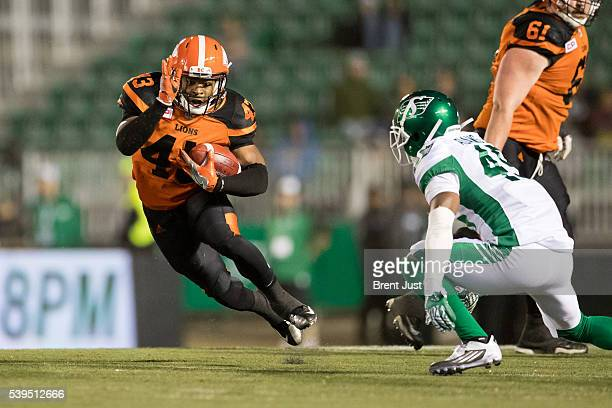 C Coleman of the BC Lions carries the ball in the preseason game between the BC Lions and Saskatchewan Roughriders at Mosaic Stadium on June 11 2016...