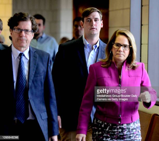 Coleman Stewart the former University of Colorado student surrounded by his attorneys David Kaplan and Pamela Mackey arrived for Stewart's sentencing...