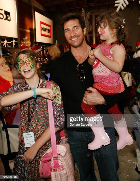 Colette McDermott actor Dylan McDermott and Charlotte McDermott attend the Lacoste at MilkShopcom Winter Wonderland holiday event on December 6 2008...