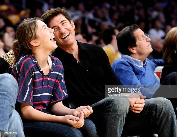 Colette McDermott and actor Dylan McDermott attend the game between the Los Angeles Lakers and the Sacremento Kings at the Staples Center on January...
