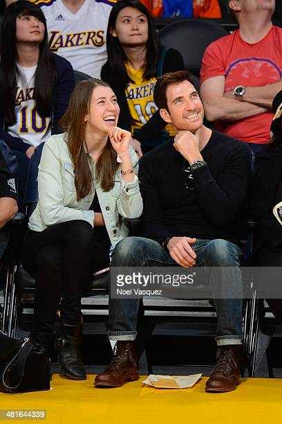 Colette McDermott and Dylan McDermott attend a basketball game between the Phoenix Suns and the Los Angeles Lakers at Staples Center on March 30 2014...