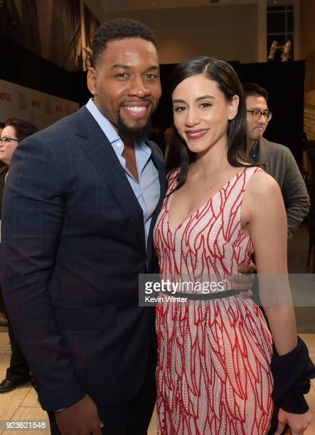 Coley Mustafa Speaks and Michelle Veintimilla attend the premiere of Netflix's Seven Seconds at The Paley Center for Media on February 23 2018 in...