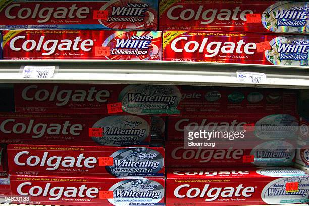 Colgate toothpaste sits on display in a New York drugstore Tuesday March 21 2006 ColgatePalmolive Co is acquiring a majority stake in Tom's of Maine...