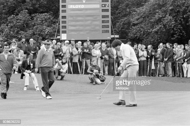 Colgate World Match Play Championship Wentworth Club Virginia Water 7th October 1977 Ray Floyd wearing checked cap and a young Seve Ballesteros aged...