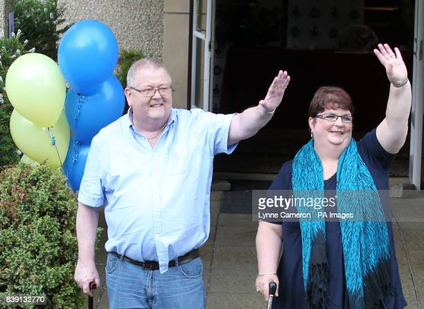 Colin and Chris Weir from Largs in Ayrshire during a press conference at the Macdonald Inchyra Hotel Spa in Falkirk after they scooped 161 million in...