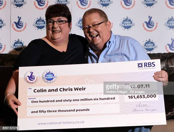 Colin and Chris Weir from Largs in Ayrshire pose for photographs during a press conference at the Macdonald Inchyra Hotel Spa in Falkirk after they...