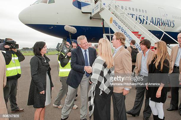 Colin and Gaynor Montgomerie greet the USA Team Members at the 38th Ryder Cup at the Cardiff Airport in Cardiff Wales on Monday September 27 2010