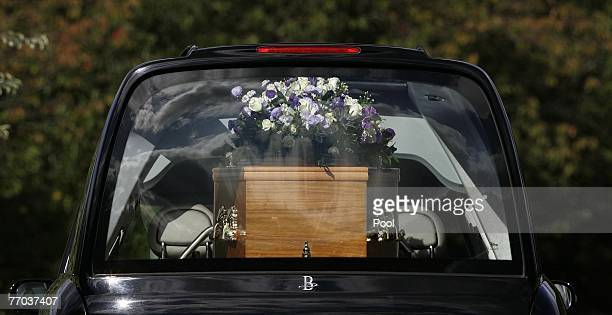Colin and Johnny McRae's coffin arrives at East Chapel, Daldowie Crematorium on September 26, 2007 in Glasgow, Scotland. Former world rally driver...