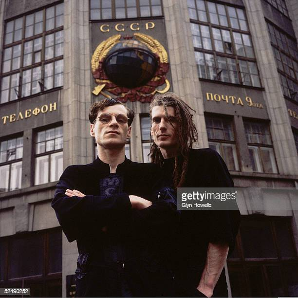 Colin Angus and Will Sinnott of dance/rock crossover pioneers The Shamen outside a post office in Moscow circa 1989