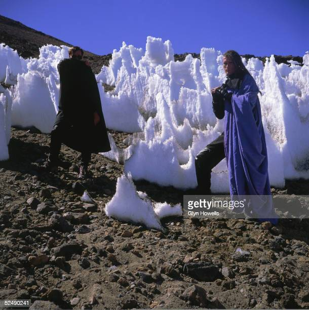 Colin Angus and Will Sinnott of dance/rock crossover pioneers The Shamen pose in a fantasy landscape during a video shoot in Spain circa 1990