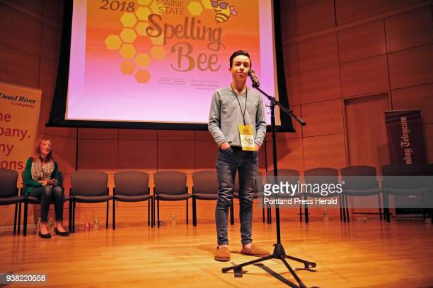 Colin Aponte an eighthgrader at Downeast Homeschool Coop reacts he succesfully spells 'crescendo' to win the 2018 Maine State Spelling Bee on...
