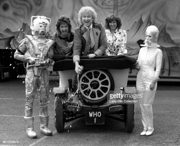 Colin Baker as 'Dr Who' in a promotional still for the 22nd series of the British television show He is pictured in the Doctor's car Bessie with his...