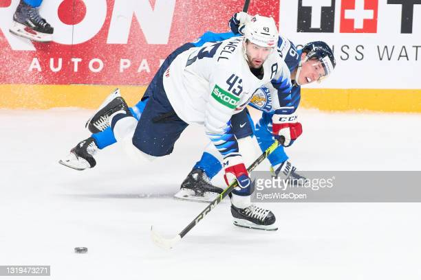 Colin BLACKWELL, #43 of USA against Veli-Matti SAVINAINEN, FIN 19 during the 2021 IIHF Ice Hockey World Championship group stage game between Finland...