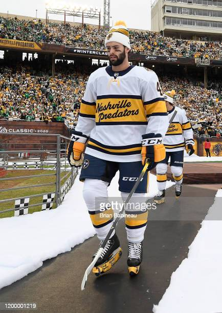 Colin Blackwell of the Nashville Predators walks back to the locker room after warmup prior to the 2020 NHL Winter Classic between the Nashville...